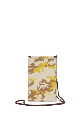 Camouflage-print organiser in Italian leather, Beige Patterned