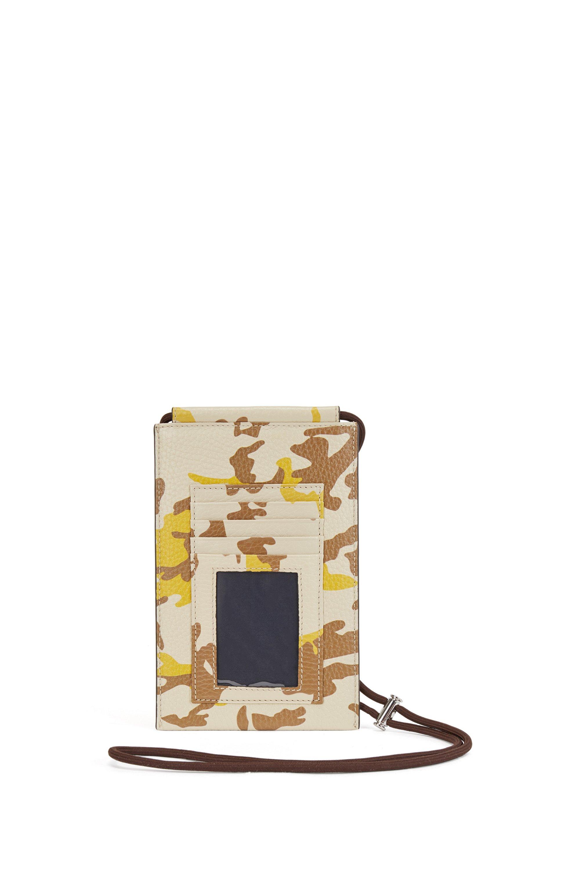 Camouflage-print organiser in Italian leather