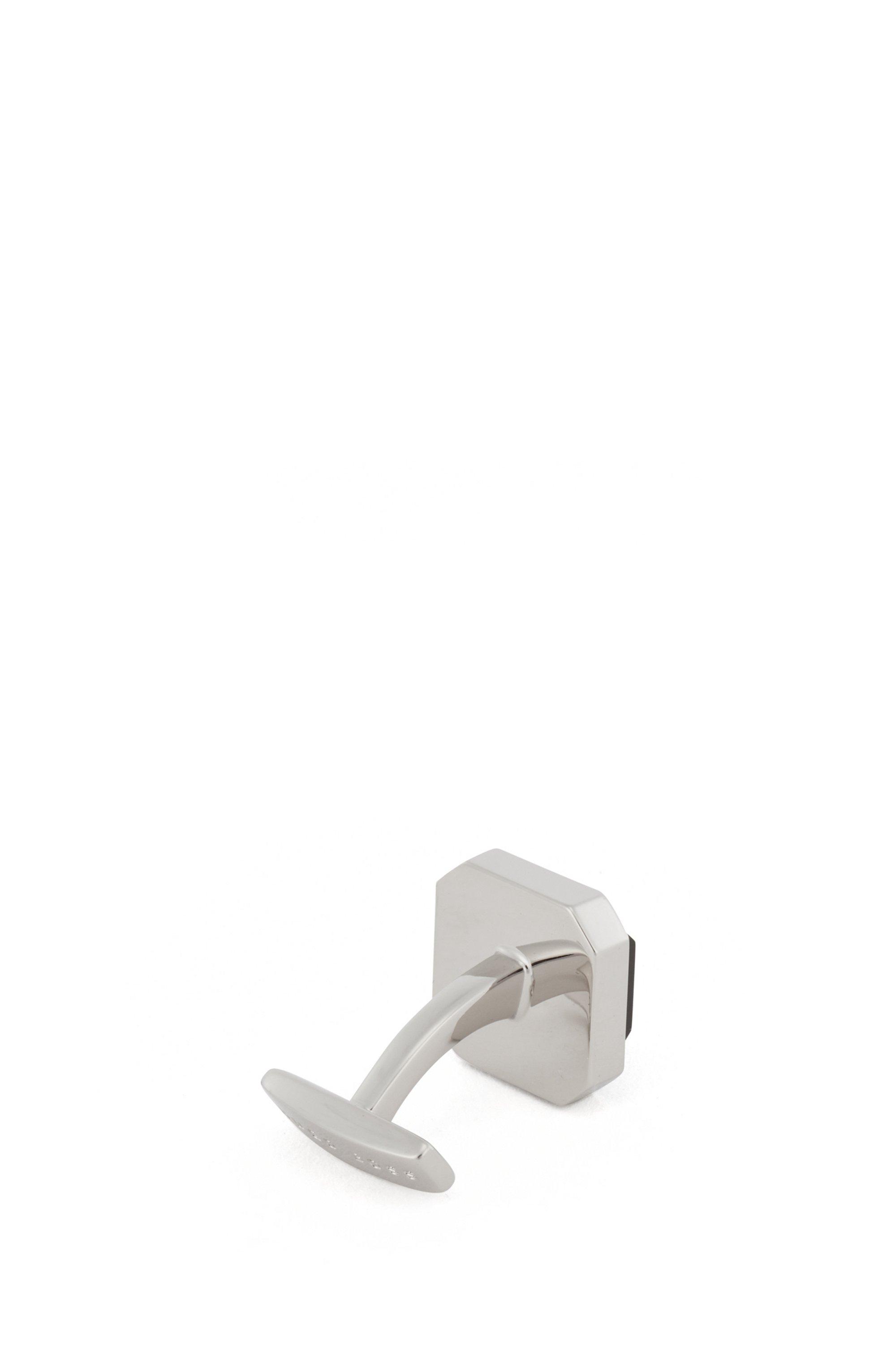 Geometric cufflinks with raised enamel