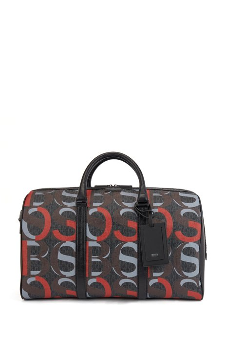 Overlapping-logo holdall in Italian coated fabric, Patterned