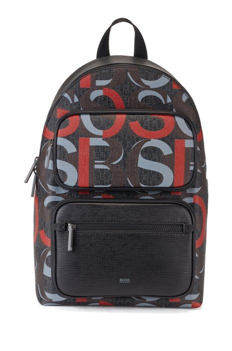 Leather-trimmed logo backpack in Italian coated fabric, Patterned