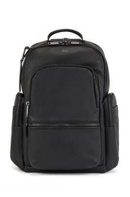 Smooth-leather backpack with multiple pockets, Black