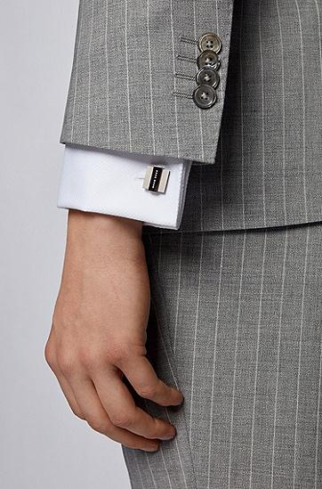 男士方形雕刻徽标袖扣,  021_暗灰色