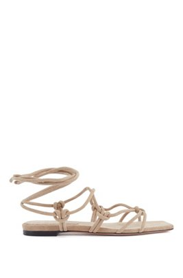 Flat sandals in Italian suede with tie-up straps, Beige