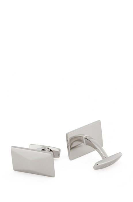 Rectangular cufflinks with faceted surface, Silver
