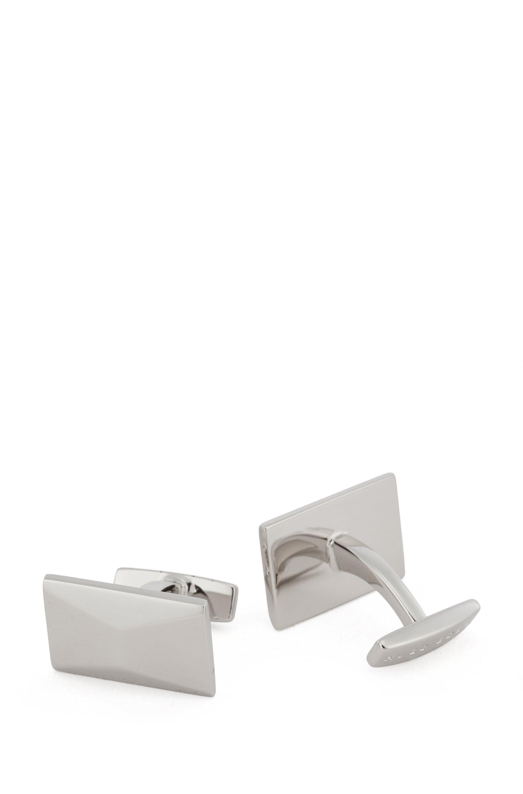 Gemelos rectangulares con superficie facetada, Plata