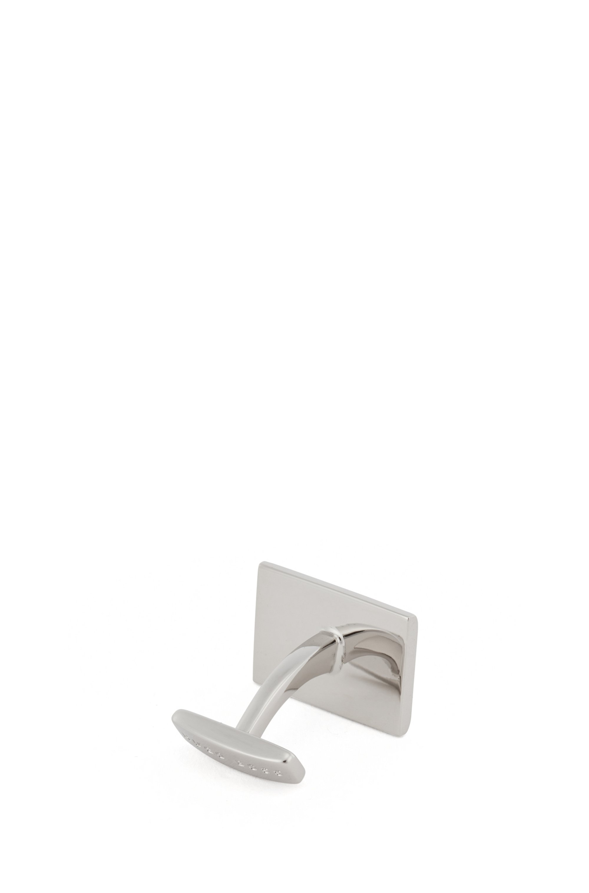 Rectangular cufflinks with faceted surface