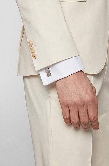 刻面矩形袖扣,  040_Silver