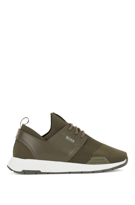 Sock trainers in REPREVE® with leather trims, Khaki