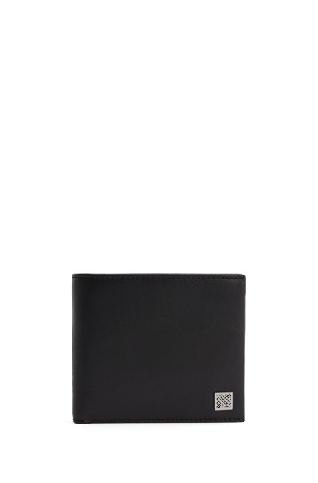 Smooth-leather wallet with monogram plate and coin pocket, Black