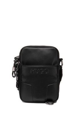 Faux-leather reporter bag with signature hardware, Black