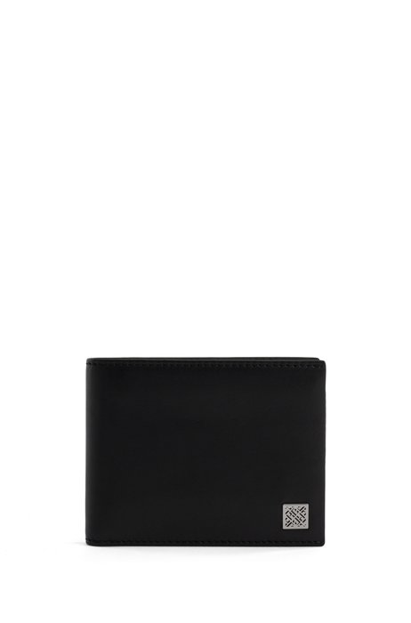 Smooth-leather wallet with monogram plate, Black