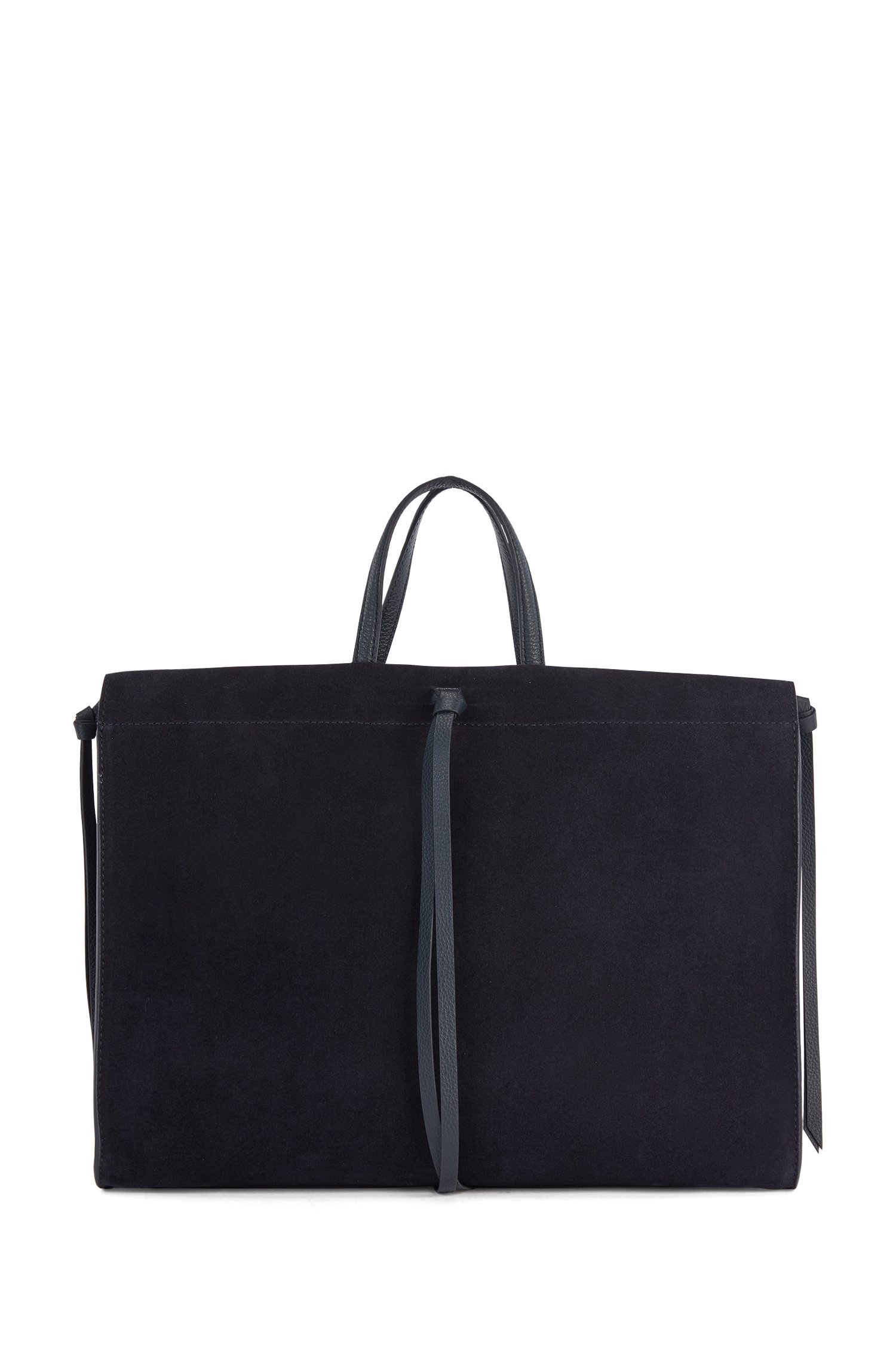 Suede tote bag with knotted tassel trims, Black