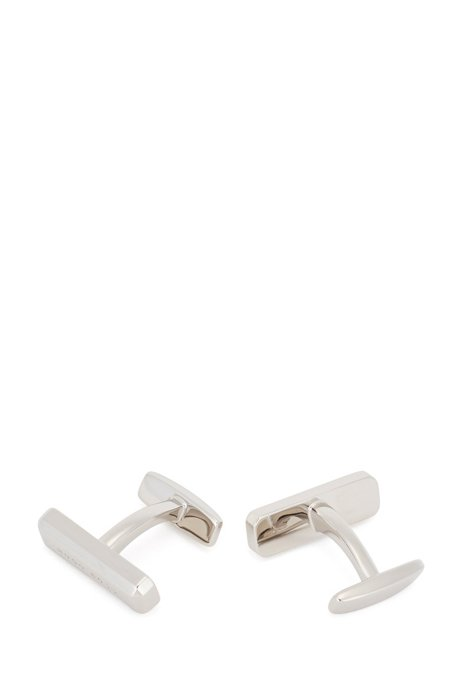 Logo cufflinks with light-reflecting effect in faceted brass, Silver