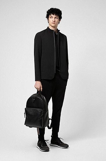 立体徽标人造革双肩包,  001_黑色