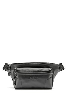 Logo belt bag in faux leather with branded hardware, Black