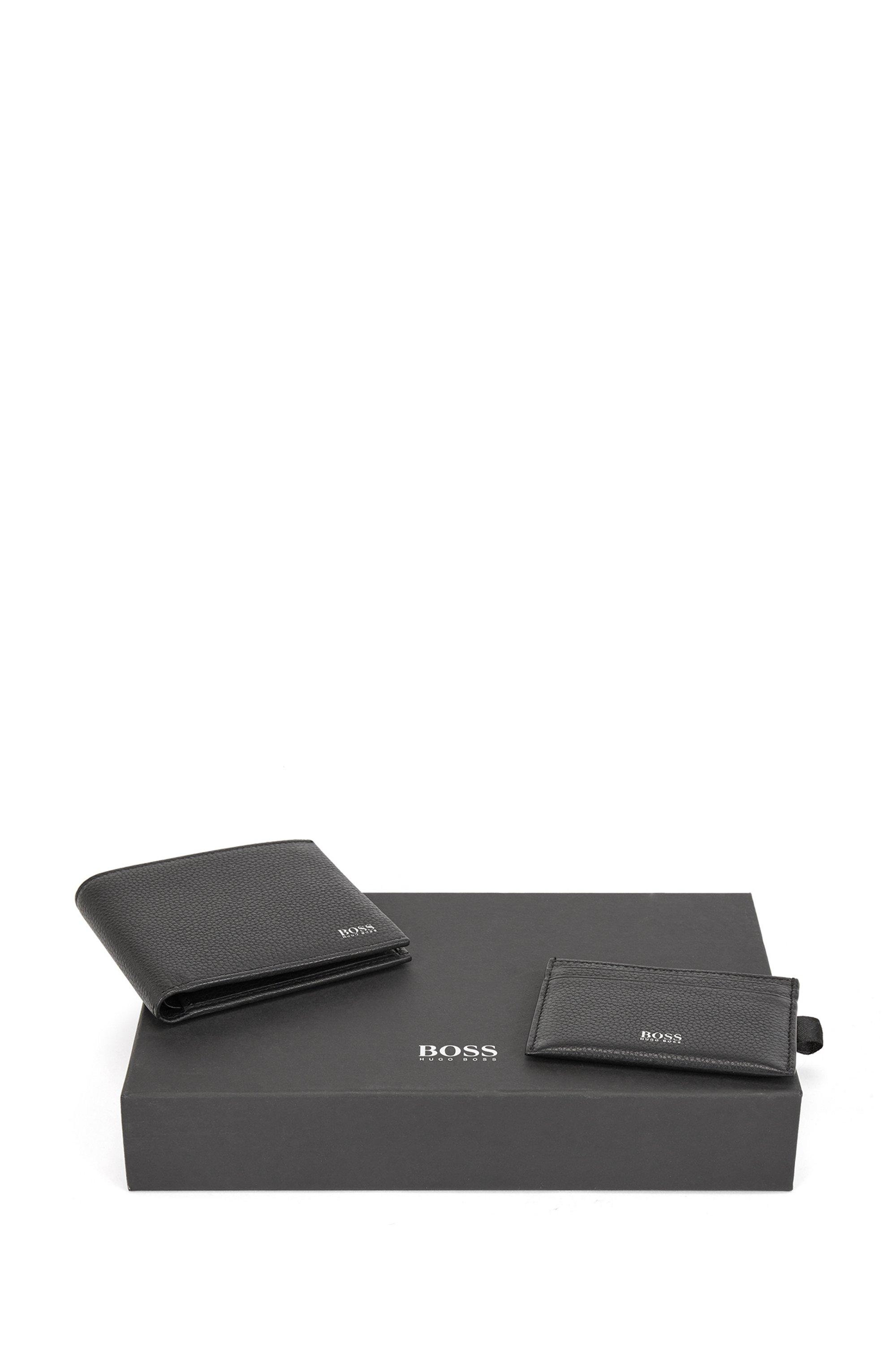 Geschenk-Set mit Geldbörse und Kartenetui aus genarbtem Leder, Schwarz