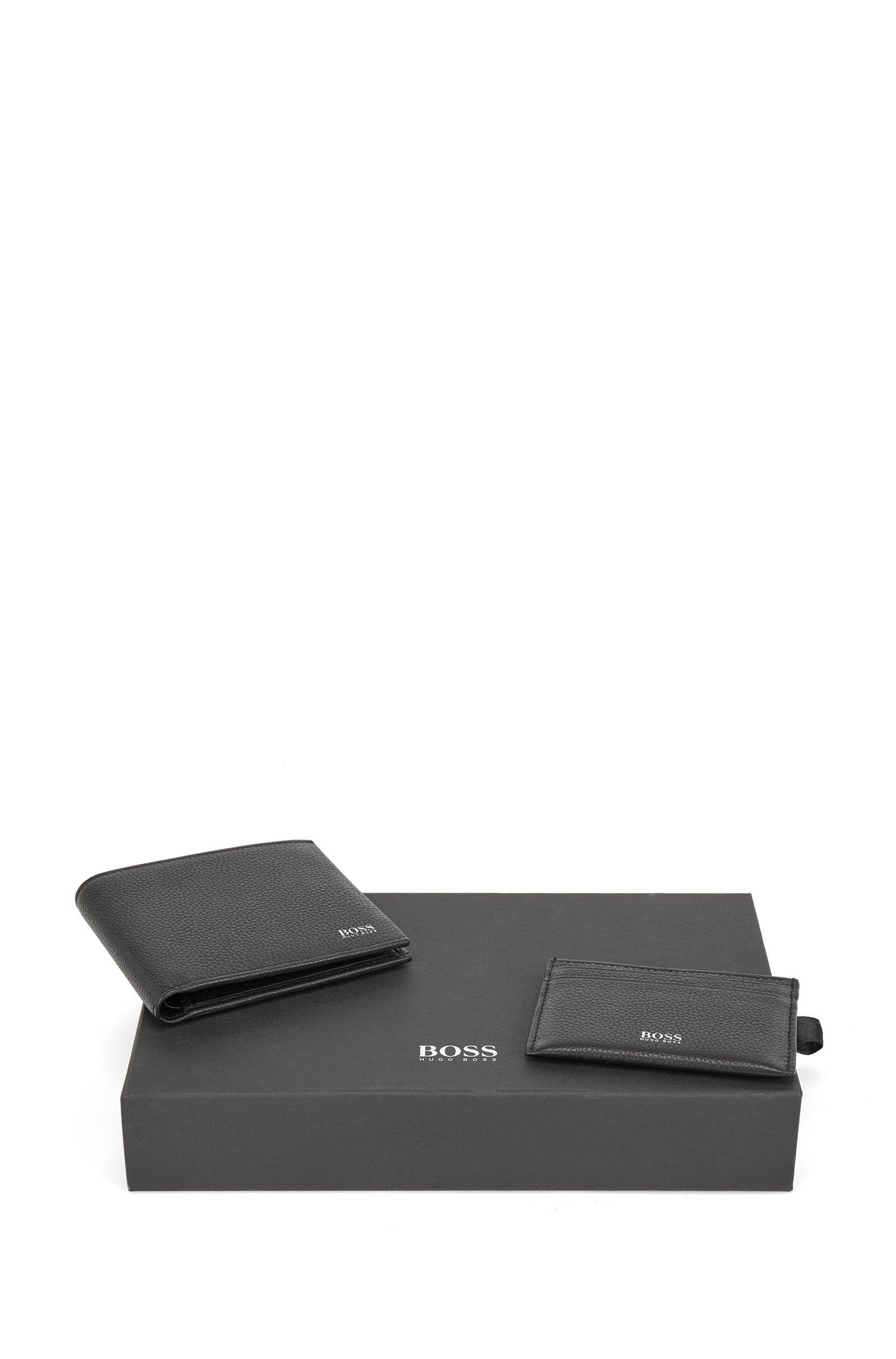 Coffret cadeau avec portefeuille et porte-cartes en cuir grainé, Noir