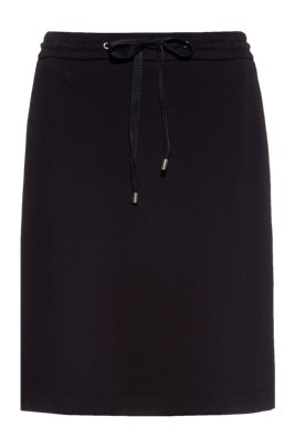 Mini skirt in stretch jersey with logo-drawstring waist, Black