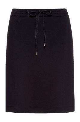 Mini skirt in stretch jersey with logo-drawstring waist, Black