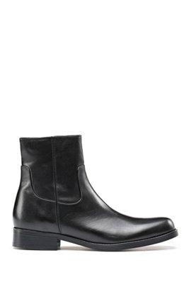 Ankle Boots aus genarbtem Leder mit Reißverschluss, Schwarz