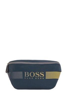 Belt bag in recycled fabric with dégradé logo, Dark Blue