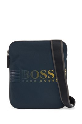 Recycled-nylon envelope bag with dégradé logo print, Dark Blue