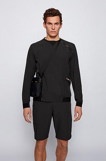 搭配徽标图案和可调节肩带的再生材质单肩包,  001_黑色