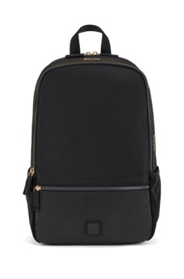 Backpack in recycled fabric with woven logo trim, Black