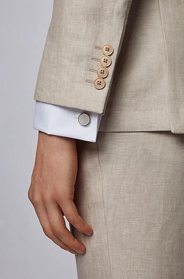 男士雕刻徽标袖扣,  100_白色