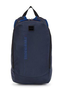 Recycled-nylon backpack with logo artwork, Dark Blue