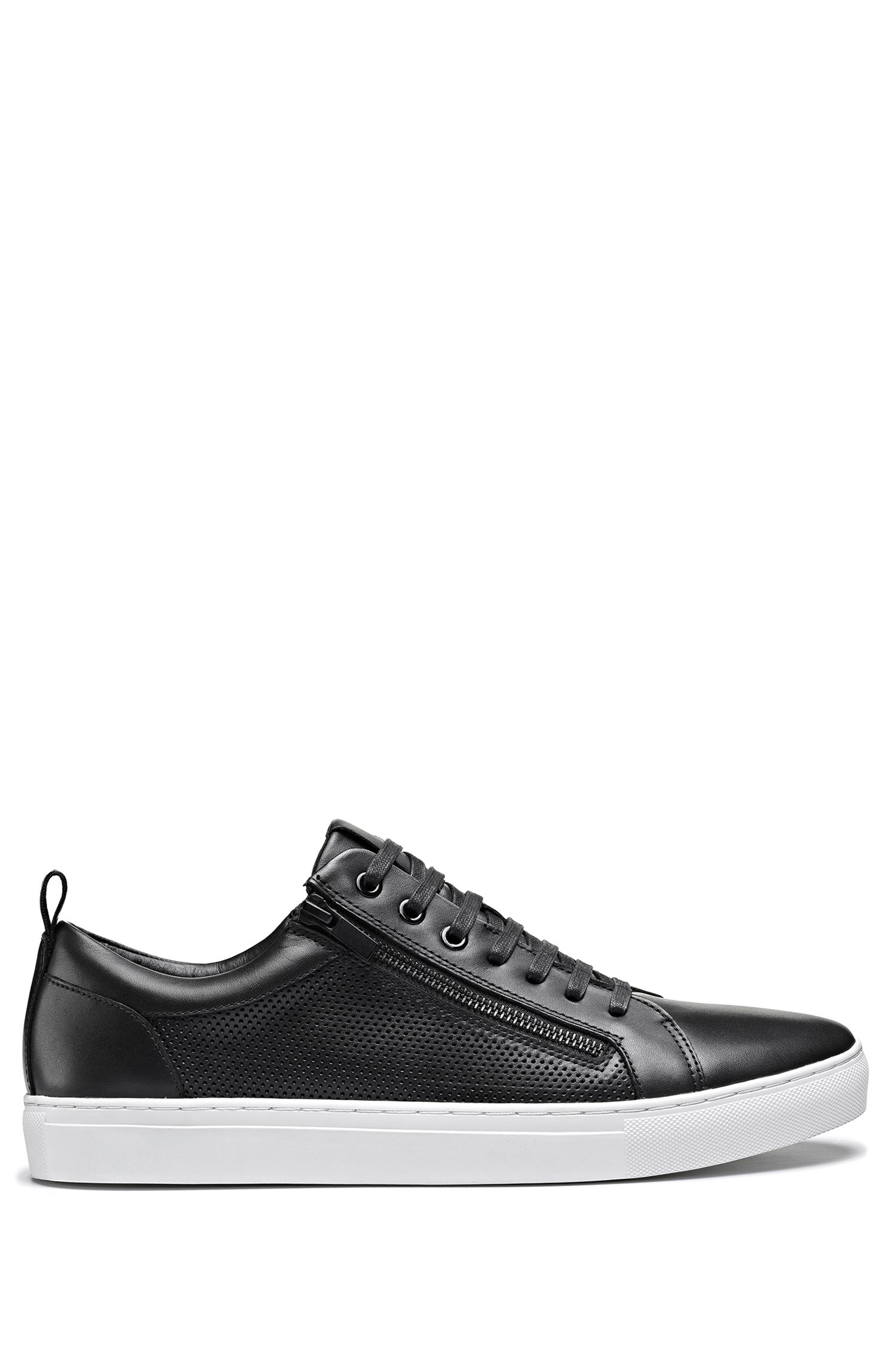 Low-top trainers in nappa leather with zipped uppers, Black