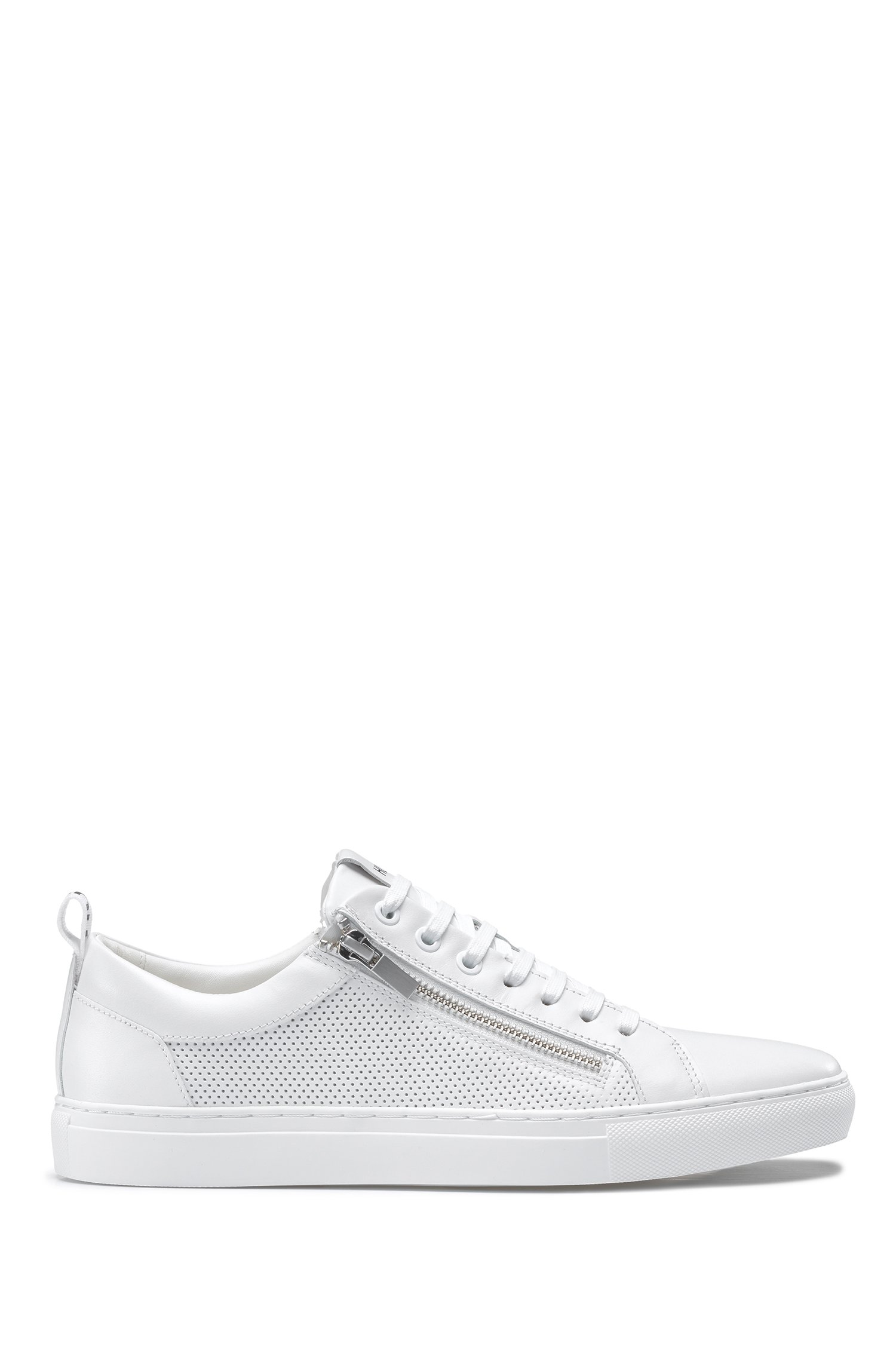 Low-top trainers in nappa leather with zipped uppers, White