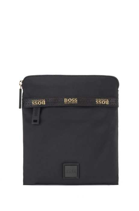 Envelope bag in recycled fabric with logo-tape trim, Black