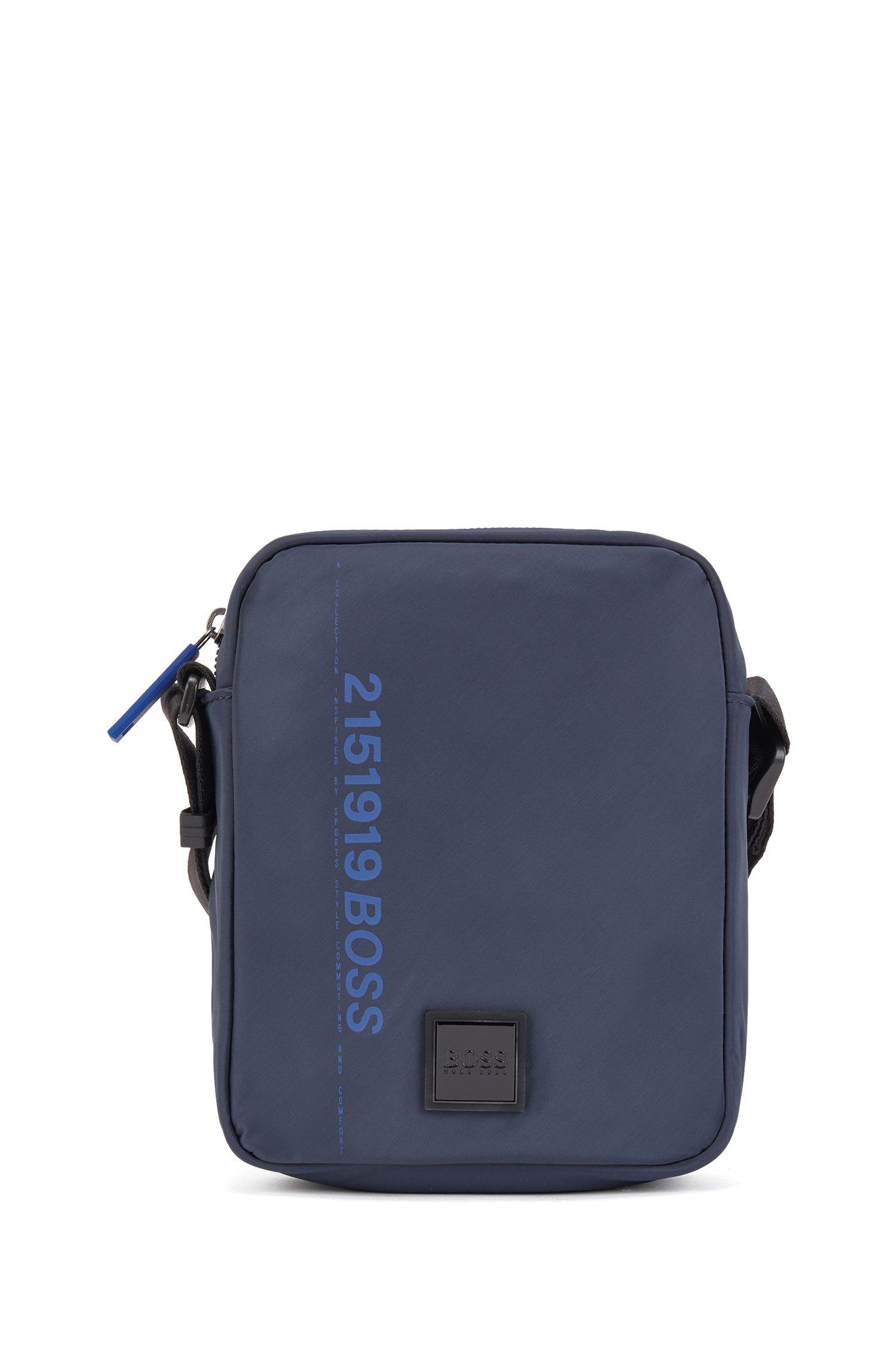 Recycled-nylon reporter bag with logo artwork, Dark Blue
