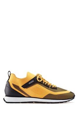 Sock-Sneakers aus recyceltem Gewebe mit kontrastfarbenen Details, Dunkelgelb