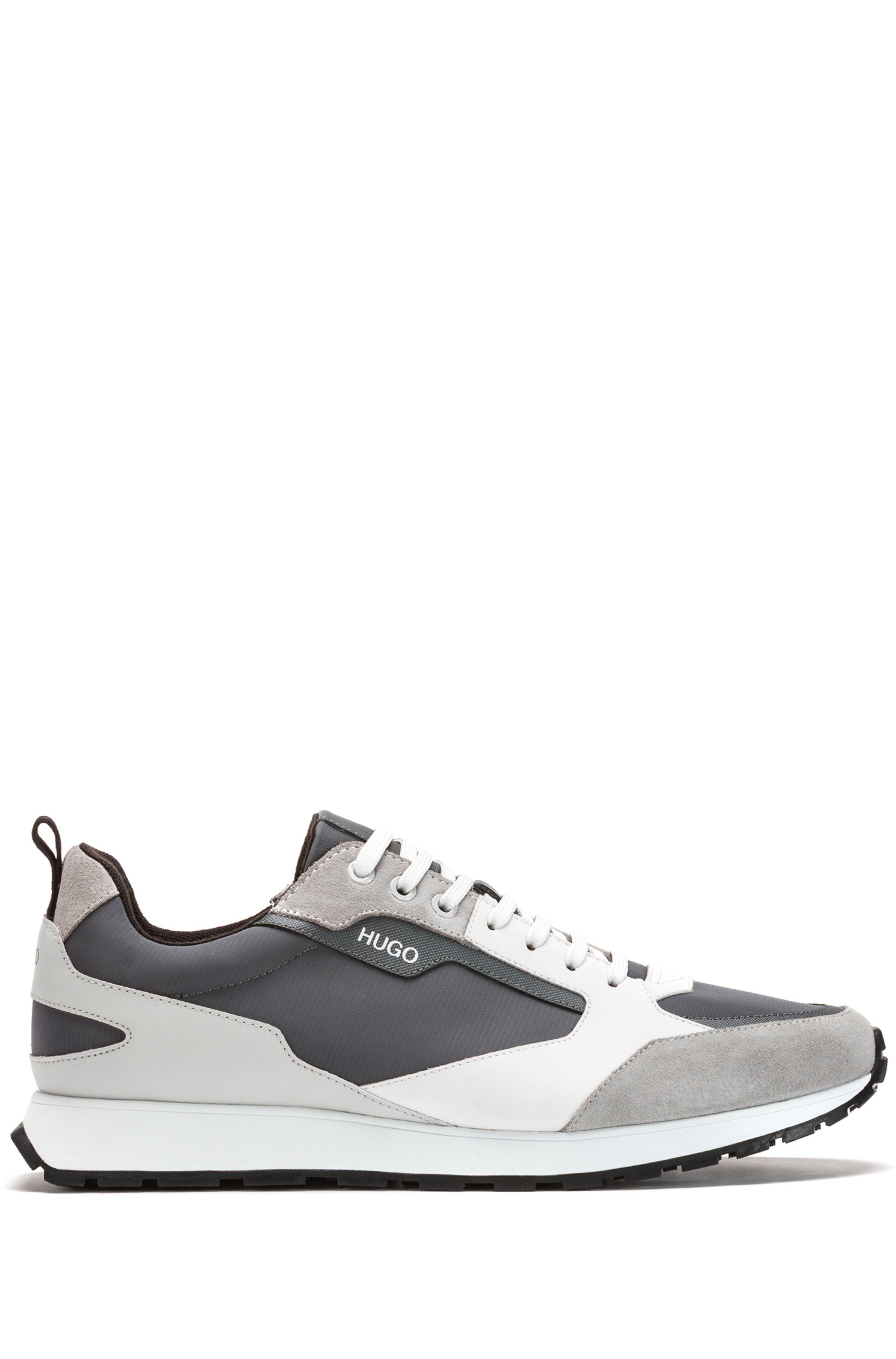 Retro-inspired trainers with suede and mesh details, Grey