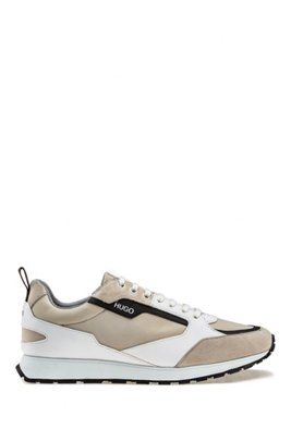 Retro-inspired trainers with suede and mesh details, White