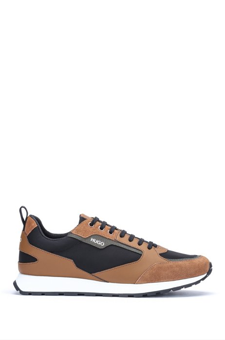 Retro-inspired trainers with suede and mesh details, Light Brown