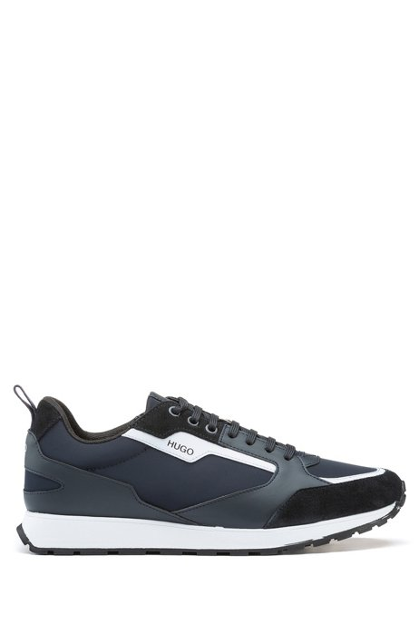 Retro-inspired trainers with suede and mesh details, Dark Blue
