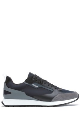Retro-inspired trainers with suede and mesh details, Black