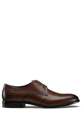 Chaussures derby en cuir poli, Marron