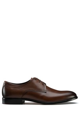 Derby shoes in polished leather, Brown