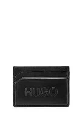 Grained-leather card holder with tonal logo, Black