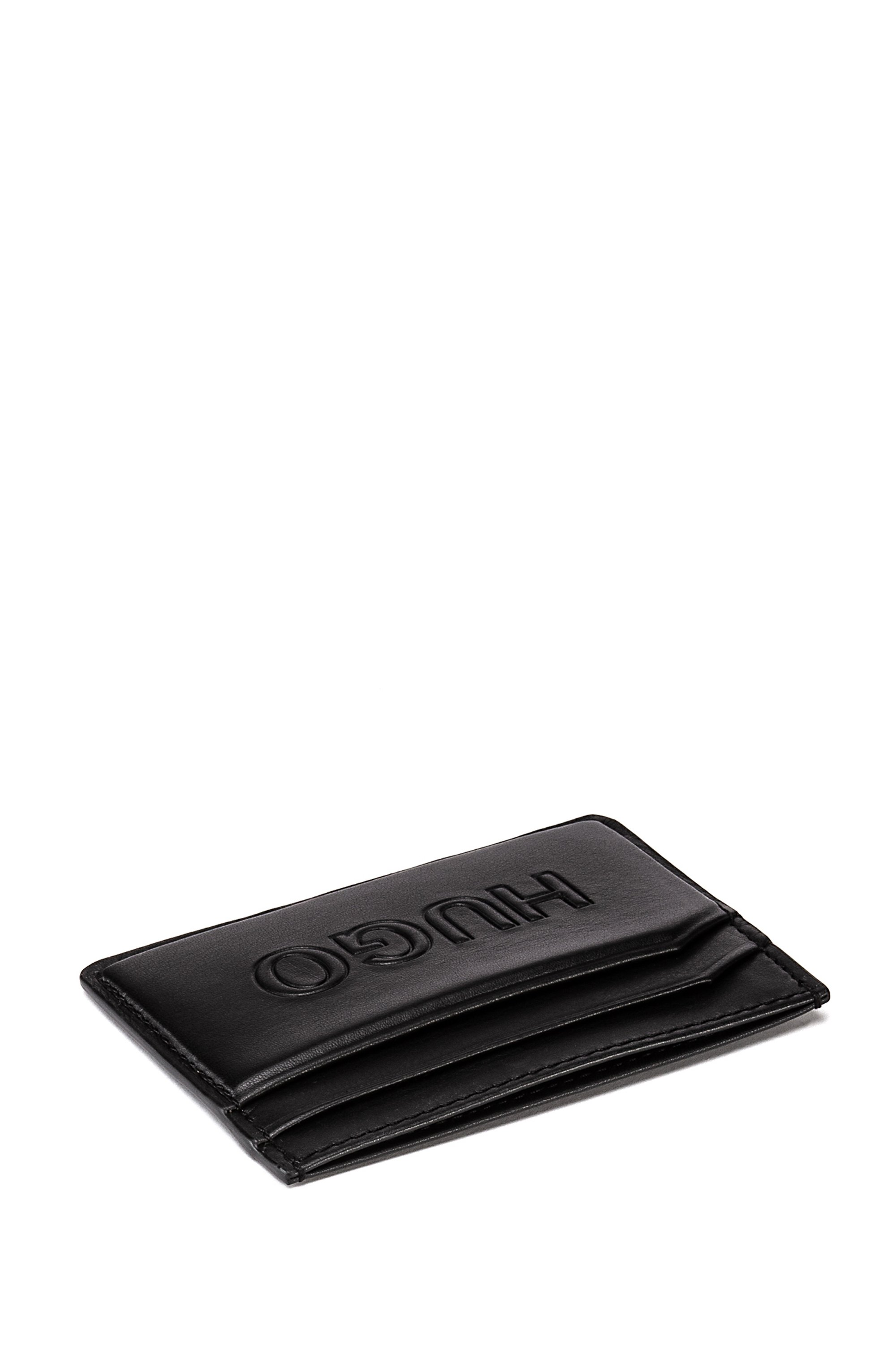 Grained-leather card holder with tonal logo