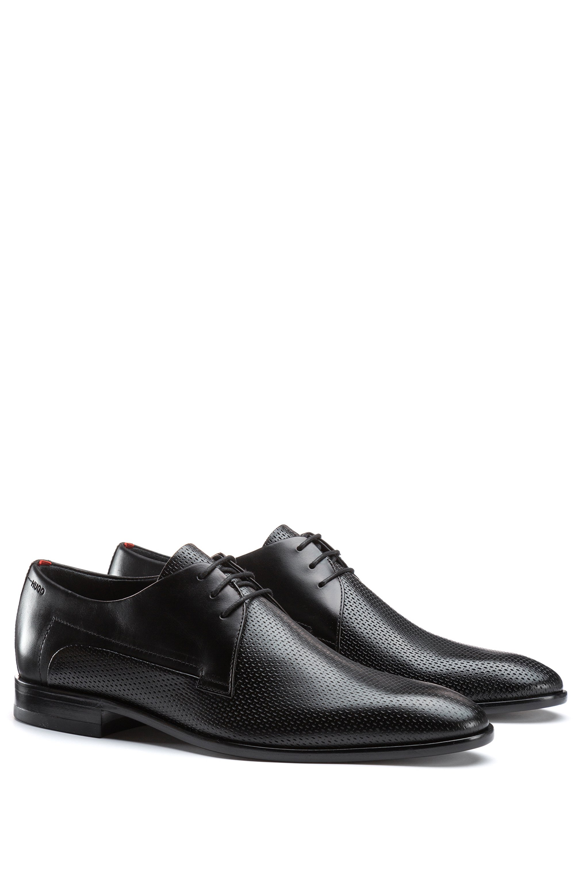 Leather Derby shoes with printed vamp