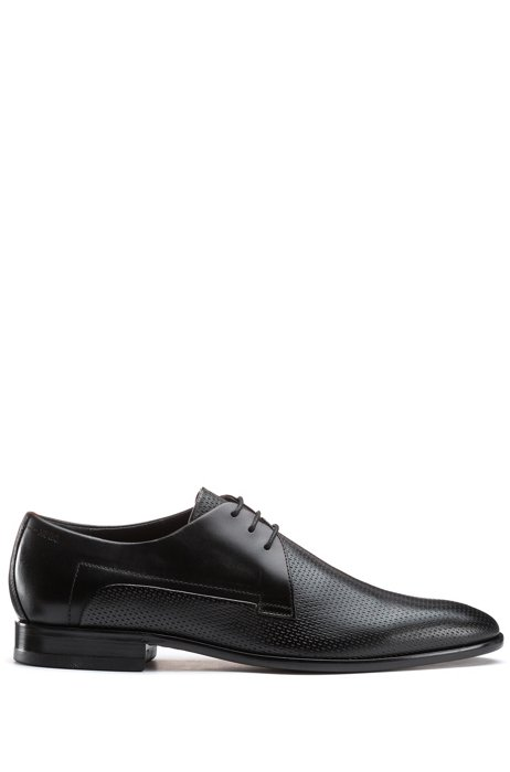 Leather Derby shoes with printed vamp, Black