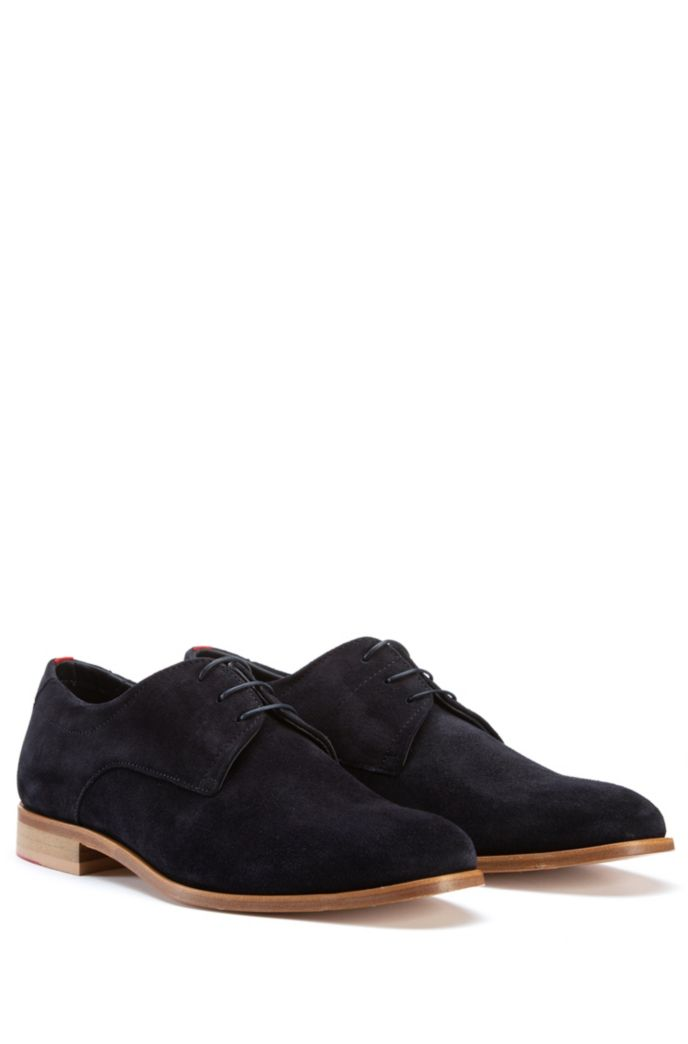 Stacked-sole Derby shoes with suede uppers