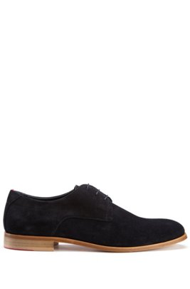 Stacked-sole Derby shoes with suede uppers, Dark Blue