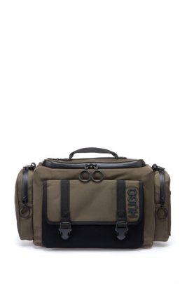 Holdall in structured nylon with tyre-print logo, Dark Green